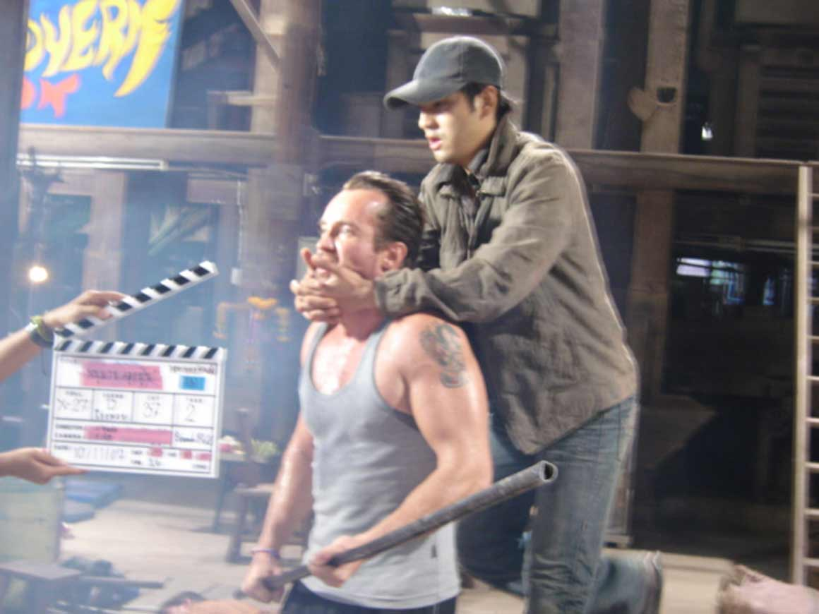 Work in progress as the main actor is trying to strangle a stuntman